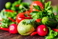 Fresh vegetables and herbs on wooden table. Close up fresh tomatoes, radish, dill, parsley, kohlrabi and ramsons on dark wooden surface Royalty Free Stock Photos
