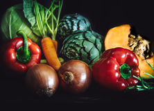 Close up of fresh vegetables on dark background. Close up of fresh vegetables on dark background Stock Photography
