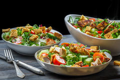 Close-up fresh vegetables and roasted chicken Royalty Free Stock Photo