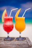 Close up fresh watermelon and mango cocktails on Royalty Free Stock Photo