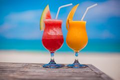 Close up fresh watermelon and mango cocktails on Royalty Free Stock Image
