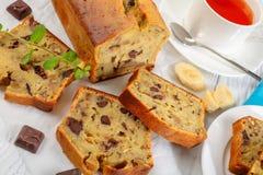 Close-up of freshly baked delicious banana bread royalty free stock photos