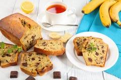 Close-up of freshly baked delicious banana bread stock photo