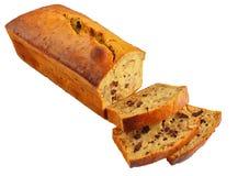 Sliced banana bread isolated on white Stock Photos