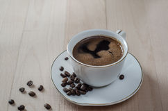 Close up  of a freshly brewed mug of black coffee Royalty Free Stock Images