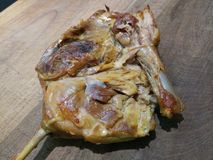 Duck leg cooky and seasoned with bones. Close up freshly cooked stock images