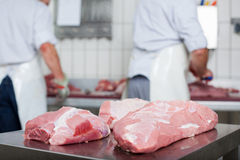 Close-up of freshly cut large pieces of meat Stock Photos
