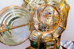 Close-up on a Fresnel optic system and light bulbs of a lighthouse Royalty Free Stock Images