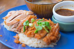 Close up of fried chicken and boil chicken with rice. Selective focus of fried chicken and boil chicken with rice stock images