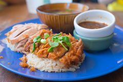 Close up of Fried chicken and boil chicken with rice. Thai food stock photo