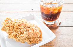 Close up fried chicken with cola drink Stock Image