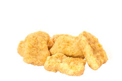 Close up of Fried chicken nuggets isolated on white background. Royalty Free Stock Image