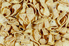 Close up of fried corn chips.  Royalty Free Stock Photos