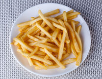 Close up Fried French Fries in white plate Royalty Free Stock Images