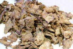 Close up Fried pork liver isolated on white background stock image