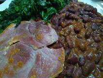 Close up of fried pork slices with juicy kidney beans. On a white plate with green spinach royalty free stock photography