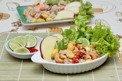 Close up fried  rice with mixed vegetable and side dish in Vegetable festival of Chinese Stock Image