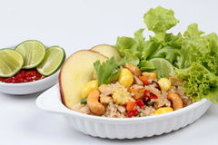 Close up fried  rice with mixed vegetable and side dish in Vegetable festival of Chinese Stock Photography