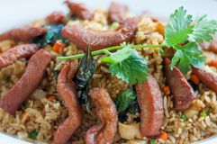 Close up fried rice with pork topping in dish royalty free stock photo