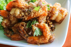 Close up of fried shrimp with chilli sauce and garlic Stock Photos