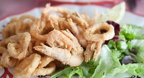 Close up fried shrimp squid Calamari Stock Photo