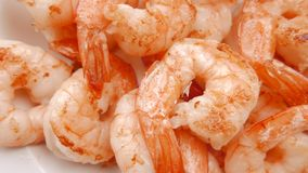 Close up of fried shrimps on a plate. 4K UHD. Close up of fried shrimps on a plate stock video