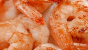 Close up of fried shrimps on a plate. 4K UHD. Close up of fried shrimps on a plate stock footage