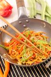 Fried vegetable in wok. Close up on fried vegetable in wok Stock Photo