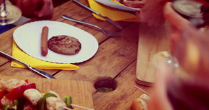 Close up of friends having a lunch stock footage