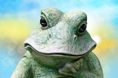 Close-up of frog head. A decorative old weathered ceramic frog o royalty free stock images
