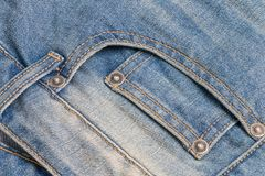 Close up front jeans pocket texture and sew stitch Royalty Free Stock Photo