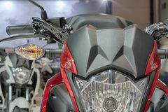 Close up of front light of motorcycle Stock Photos
