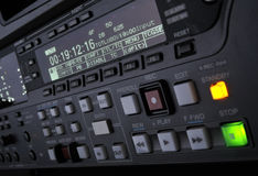 Close-up of the front panel of the pro vcr. Perspective close-up of the front panel of the professional digital betacam video recorder Royalty Free Stock Photo