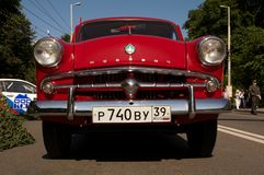 Close up front of retro car Moskvich Royalty Free Stock Images