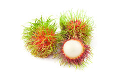 Close up front side  rambutan. On white background Stock Photography