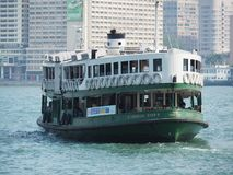 A close up of the front of the Star Ferry in Hong Kong. The ship in the picture goes with royalty free stock image