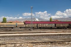 Coach of Wagon Train. Close up front view of coach of wagon train on cloudy sky background. It is waiting at railway station Stock Images
