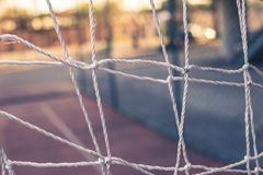 Front view from a goal net royalty free stock image