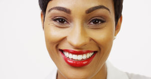 Close up front view of pretty black woman Royalty Free Stock Image