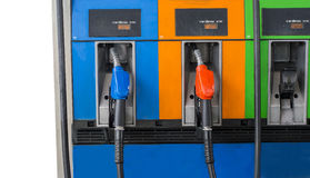 Close up front view two fuel nozzle fuel oil gasoline at petrol Stock Photos