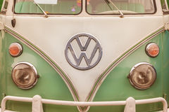 Close up of the front of a vintage Volkswagen Transporter Bus Royalty Free Stock Image