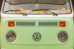Close up of the front of a vintage Volkswagen Transporter Bus Royalty Free Stock Photos