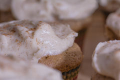 Close up of frosted cupcake. Macro close up of fall spice cupcakes garnished with cinnamon Royalty Free Stock Image