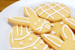 Close up of frosted Easter cookies on a plate Stock Image