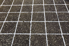 Close up of frosted stone footpath Royalty Free Stock Images