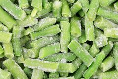 Close up of frozen green beans. Royalty Free Stock Photos