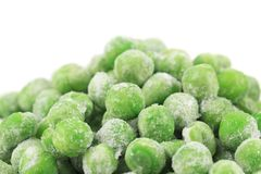 Close up of frozen green peas Stock Images