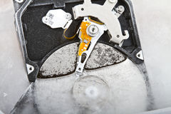 Close up of a frozen hard drive Royalty Free Stock Image