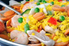 Seafood paella. Close-up of frozen seafood paella for the preparing in a pan Stock Photos