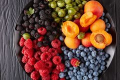 Close-up of Fruit and berries salad royalty free stock photos